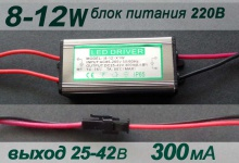 Герметичный блок питания 2X (8-12)x1W, 300mA