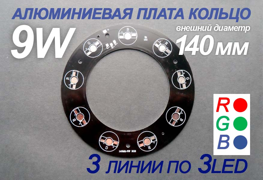 Плата кольцо RGB 140мм 3 линии 9W