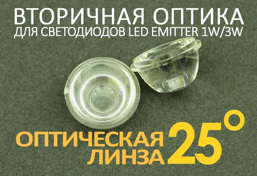 Светодиодная оптическая линза 25°