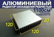 Алюминиевый радиаторный профиль 120 x 30 x 120 мм