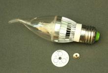 """Набор LED лампа """"свеча на ветру"""" 3W Е14/E27"""