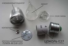 """Набор LED лампа """"свеча на ветру"""" 4W Е14/E27"""