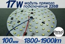 Модуль 17W 100мм (белый) / 1800-1900Lm / 220V